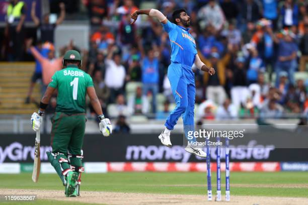 Jasprit Bumrah of India celebrates bowling Sabbir Rahman of Bangladesh during the Group Stage match of the ICC Cricket World Cup 2019 between...