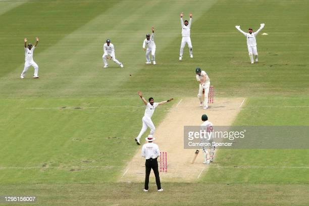 Jasprit Bumrah of India celebrates dismissing Cameron Green of Australia for lbw during day two of the Third Test match in the series between...