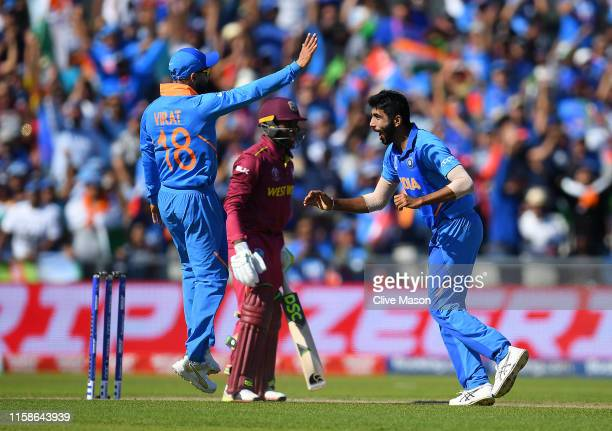 Jasprit Bumrah of India celebrates dismissing Fabian Allen of West Indies during the Group Stage match of the ICC Cricket World Cup 2019 between West...
