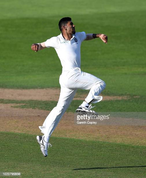 Jasprit Bumrah of India celebrates dismissing Jonathan Bairstow of England during day four of the Specsavers 3rd Test match between England and India...