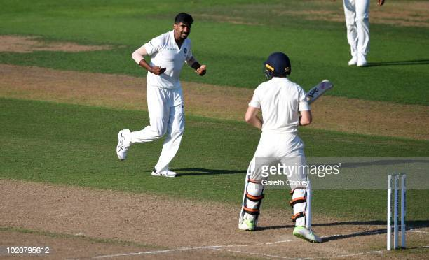 Jasprit Bumrah of India celebrates dismissing Jos Buttler of England during day four of the Specsavers 3rd Test match between England and India at...