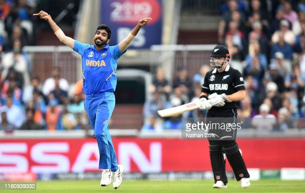 Jasprit Bumrah of India celebrates dismissing Martin Guptill of New Zealand for one run during the Semi-Final match of the ICC Cricket World Cup 2019...