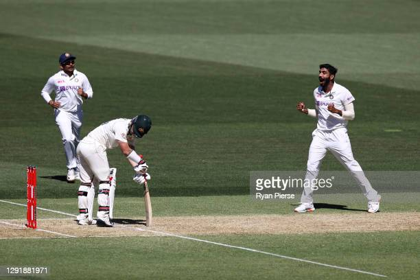 Jasprit Bumrah of India celebrates dismissing Matthew Wade of Australia of Australia for lbw during day two of the First Test match between Australia...