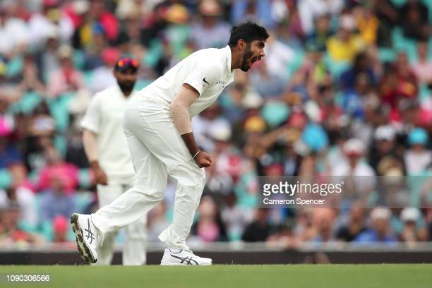 Jasprit Bumrah of India celebrates dismissing Peter Handscomb of Australia during day four of the Fourth Test match in the series between Australia...