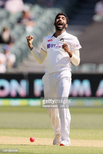 Jasprit Bumrah of India celebrates during day two of the First Test match between Australia and India at Adelaide Oval on December 18, 2020 in...