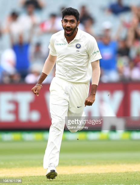 Jasprit Bumrah of India celebrates getting the wicket of Aaron Finch of Australia during day four of the Third Test match in the series between...