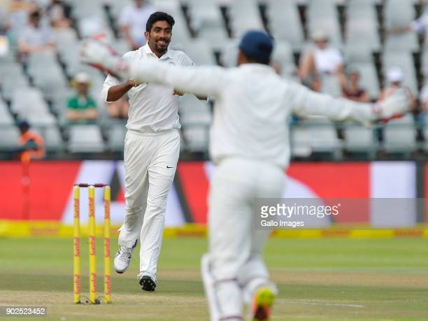 Jasprit Bumrah of India celebrates taking the wicket of Faf du Plessis of South Africa during day 4 of the 1st Sunfoil Test match between South...