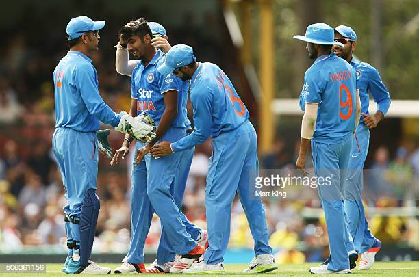 Jasprit Bumrah of India celebrates taking the wicket of Steve Smith of Australia during game five of the Commonwealth Bank One Day Series match...