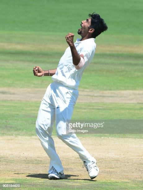 Jasprit Bumrah of India celebrates the wicket of Hashim Amla of the Proteas during day 3 of the 2nd Sunfoil Test match between South Africa and India...