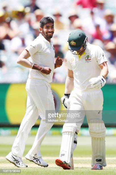 Jasprit Bumrah of India celebrates the wicket of Travis Head of Australia during day three of the Third Test match in the series between Australia...