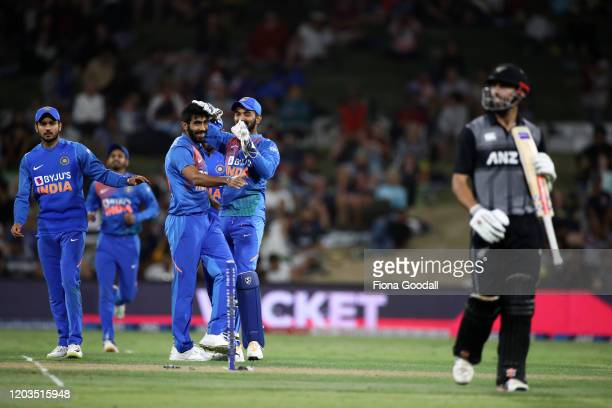 Jasprit Bumrah of India dismisses DJ Mitchell of the Black Caps during game five of the Twenty20 series between New Zealand and India at Bay Oval on...