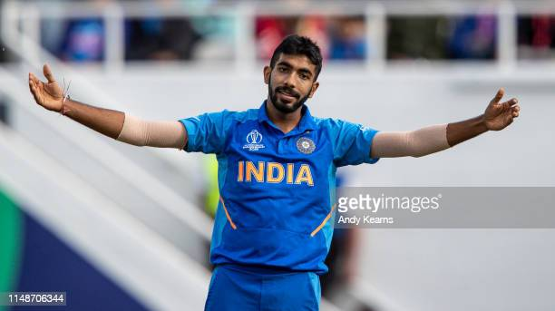 Jasprit Bumrah of India gestures during the Group Stage match of the ICC Cricket World Cup 2019 between India and Australia at The Oval on June 09,...