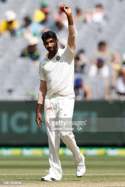 Jasprit Bumrah of India holds the ball aloft after taking his fifth wicket of the immings during day three of the Third Test match in the series...
