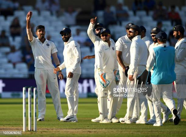 Jasprit Bumrah of India holds up the ball after taking a five wicket haul during day four of the Specsavers 3rd Test match between England and India...