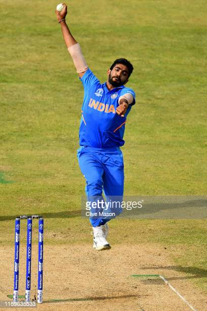 Jasprit Bumrah of India in action during the Group Stage match of the ICC Cricket World Cup 2019 between Bangladesh and India at Edgbaston on July...