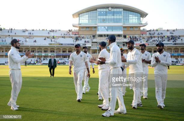 Jasprit Bumrah of India leads his team from the field at stumps on day four of the Specsavers 3rd Test match between England and India at Trent...