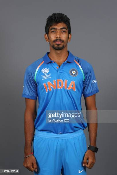 Jasprit Bumrah of India poses during an India Portrait Session ahead of ICC Champions Trophy at Grange City on May 27 2017 in London England