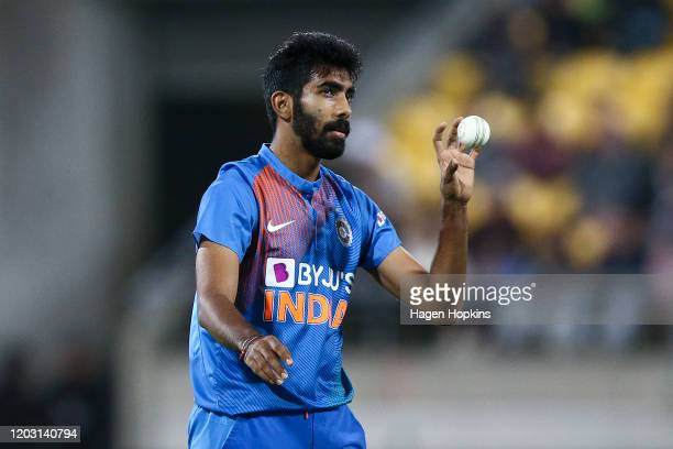 Jasprit Bumrah of India prepares to bowl during game four of the Twenty20 series between New Zealand and India at Sky Stadium on January 31, 2020 in...