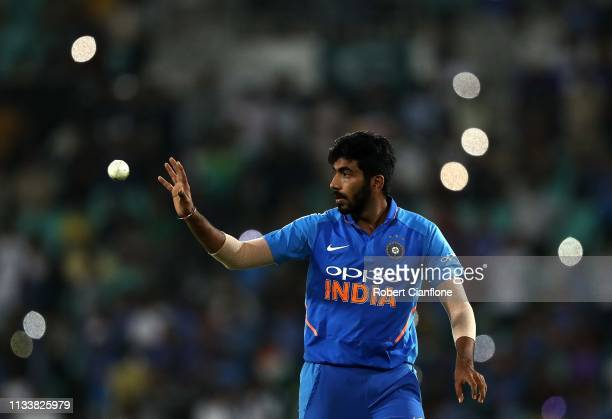 Jasprit Bumrah of India prepares to bowl during game two of the One Day International series between India and Australia at Vidarbha Cricket...