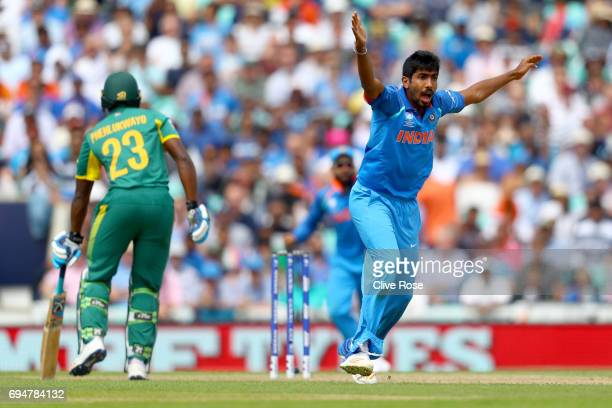 Jasprit Bumrah of India succesfully appeals for the wicket of Andile Phehlukwayo of South Africa during the ICC Champions trophy cricket match...