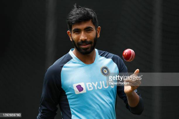 Jasprit Bumrah of India trains during an Indian Nets Session at the Melbourne Cricket Ground on December 23, 2020 in Melbourne, Australia.