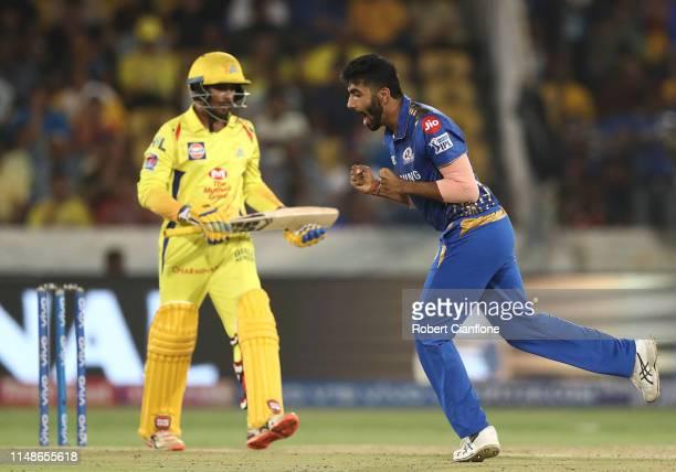 Jasprit Bumrah of the Mumbai Indians celebrates taking the wicket of Ambati Rayudu of the Chennai Super Kings during the Indian Premier League Final...