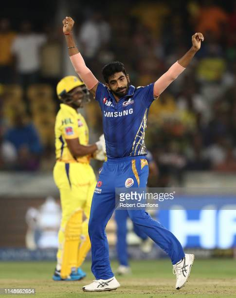 Jasprit Bumrah of the Mumbai Indians celebrates taking the wicket of Dwayne Bravo of the Chennai Super Kings during the Indian Premier League Final...