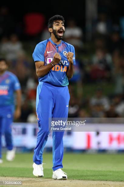 Jasprit Bumrah takes the wicket of Martin Guptill during game five of the Twenty20 series between New Zealand and India at Bay Oval on February 02,...