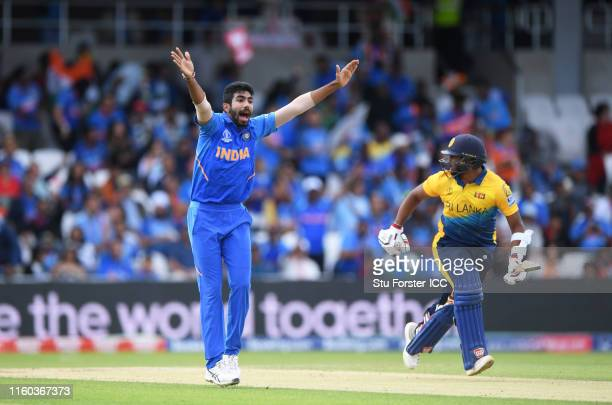 Jasprith Bumrah of India appeals for the wicket of Avishka Fernando of Sri Lanka which is given out but later changed on review during the Group...