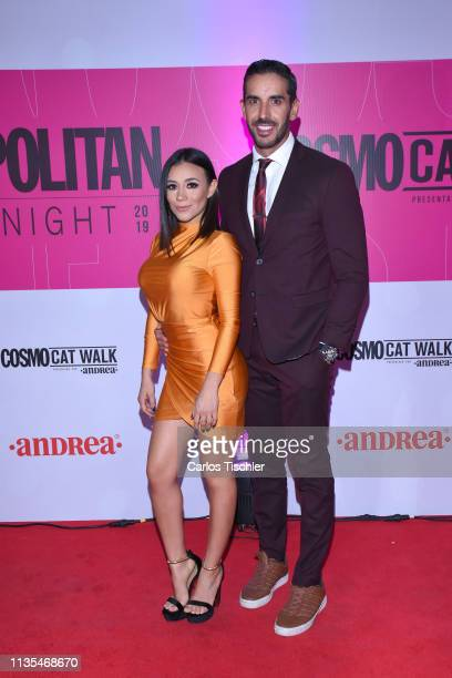 Jass Reyes and Pedro Prieto poses for photos during the red carpet of Cosmopolitan Fashion Night at Campo Marte on March 12 2019 in Mexico City Mexico