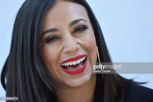 Jass Reyes of Playa Limbo talks during a press conference to present the show 'Juntos Por Una Causa' at Auditorio Nacional on February 11 2019 in...
