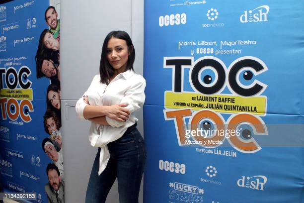 Jass Reyes poses for the media during the red carpet for the 'TOC TOC' premier at Teatro Libanes on March 7 2019 in Mexico City Mexico