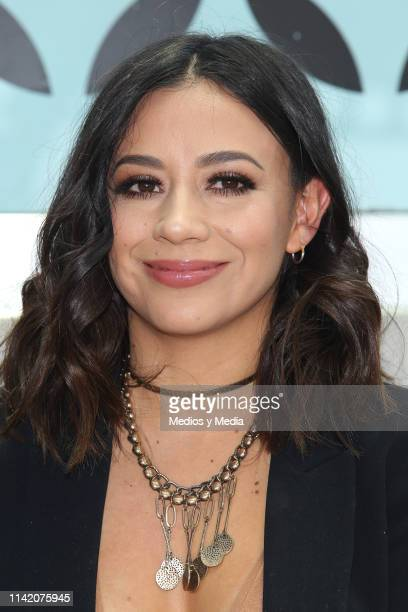 Jass Reyes smiles during a press conference to present their album 'Universo de Amor 3 y 4' at J Towers on April 11 2019 in Mexico City Mexico