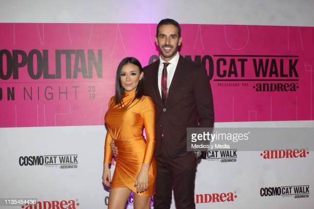 Jass Reyes y Pedro Prieto poses for photos during the Cosmopolitan Fashion Night red carpet on March 12 2019 in Mexico City Mexico