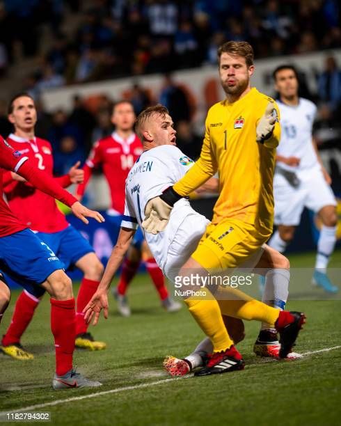 Jasse Tuominen has an effort on goal during the UEFA Euro 2020 Qualifier between Finland and Liechtenstein on November 15, 2019 in Helsinki, Finland.