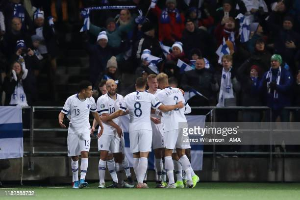 Jasse Tuominen of Finland celebrates after scoring a goal to make it 10 during the UEFA Euro 2020 Qualifier between Finland and Liechtenstein on...