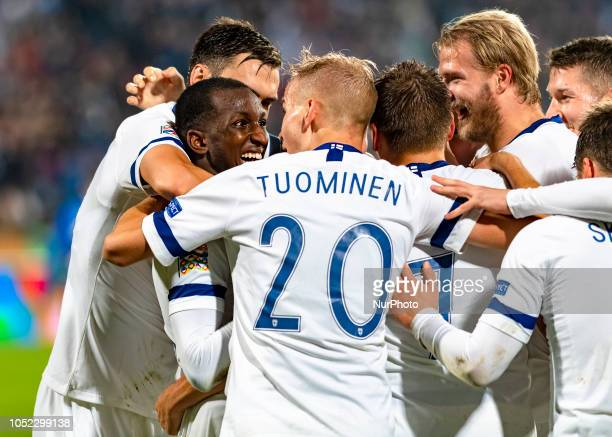 Jasse Tuominen of Finland celebrates scoring with his teammates during the UEFA Nations League group stage football match Finland v Grece in Tampere...