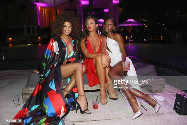Jassica Aidi Erin Willerton and Tanaye White are seen at the 1st Annual Celebrity Beach Soccer After Party Presented By GACP Sports Sports...