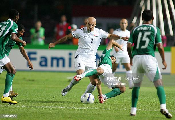 Jassim Gholam of Iraq in action during the AFC Asian Cup 2007 final between Iraq and Saudi Arabia at Gelora Bung Karno Stadium on July 29 2007 in...
