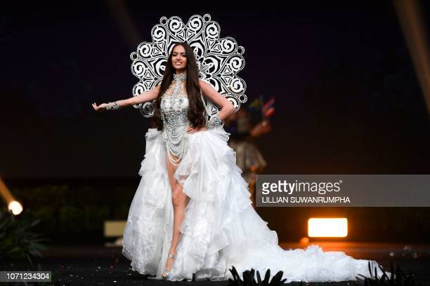 Jastina Doreen Riederer of Switzerland poses on stage during the 2018 Miss Universe national costume presentation in Chonburi province on December 10...