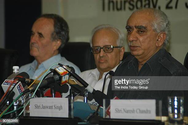 Jaswant Singh Bimal Jalan and Mark Tully at the panel discussion during the launch of