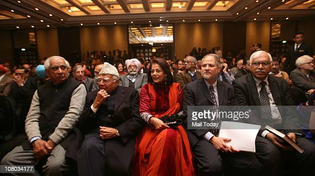 Jaswant Singh Ram Jethmalani and Rekha Purie during the MJ Akbar's Book Launch TinderboxThe Past and Future of Pakistan on January 112011 in New Delhi