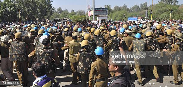 Jat community protests on the roads demanding reservations in government services as they block Chandigarh, Delhi/Shimla Highway at Old Panchkula...