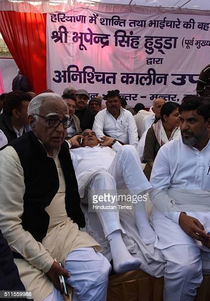 Jat Congress leader and former CM of Haryana Bhupinder Singh Hooda sits on hunger strike on Haryana Jat reservation demand at Jantar Mantar on...