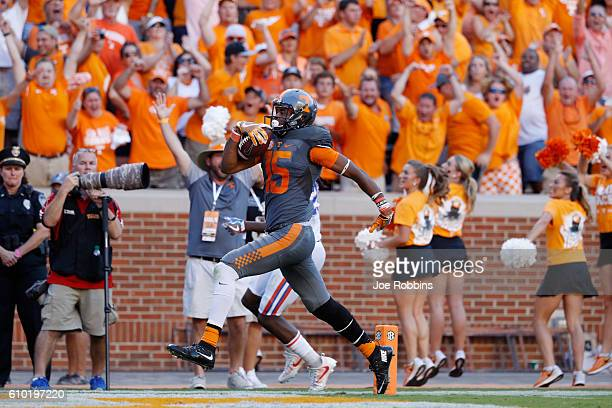 Jauan Jennings of the Tennessee Volunteers runs into the end zone with a 67yard touchdown reception against the Florida Gators in the fourth quarter...