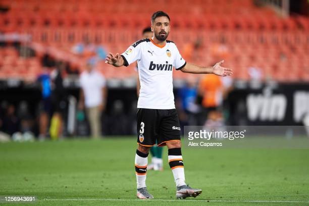 Jaume Costa of Valencia CF reacts during the Liga match between Valencia CF and RCD Espanyol at Estadio Mestalla on July 16 2020 in Valencia Spain