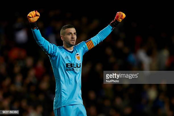 Jaume Domenech goalkeeper of Valencia CF celebrates a goal during the Copa del Rey Round of 16 second leg game between Valencia CF and Las Palmas at...
