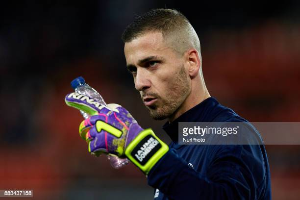Jaume Domenech goalkeeper of Valencia CF looks on prior to the game during the Copa del Rey round of 32 second leg match between Valencia CF and Real...