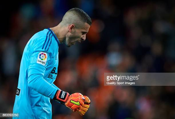 Jaume Domenech of Valencia celebrates a goal during the Copa Del Rey match between Valencia and Zaragoza at Mestalla Stadium on November 30 2017 in...