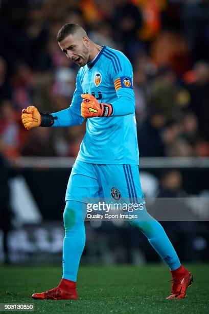 Jaume Domenech of Valencia celebrates a goal during the Copa Del Rey 2nd leg match between Valencia and Las Palmas at Mestalla Stadium on January 9...